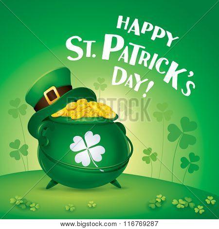 Happy Saint Patricks Day! St. Patricks Day symbol. Pot of gold.