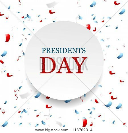 Presidents Day abstract USA colors confetti background. Vector graphic design