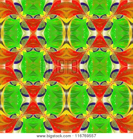 Beautiful Symmetrical Pattern In Stained-glass Window Style. Green, Red, Yellow Palette.