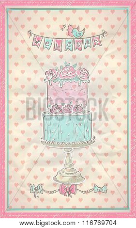 Cute hand drawn graphic invitation card for wedding, baby shower or sweet party. Sweet cake and welcome garland.