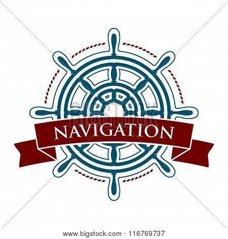 Ship steering wheel logo