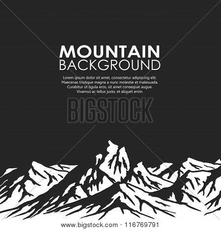 Mountain range isolated on black background