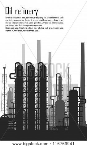 Oil and gas refinery isolated on white background