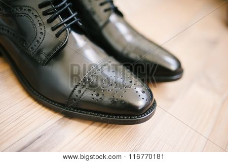 Groom's Shoes On Wedding Day