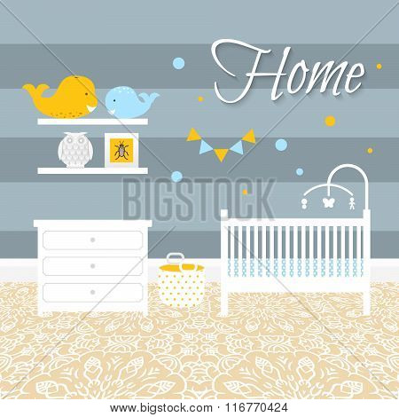 Nursery Room With Furniture. Baby Interior.