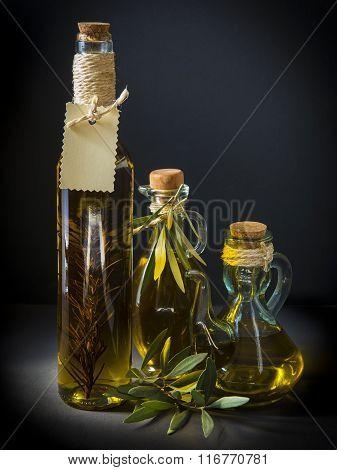 Olive Oil On A Black Background