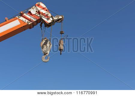 Double Hook Crane On Blue Skies Background.