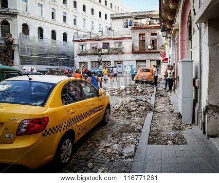 New Taxi In Street, Havana, Cuba