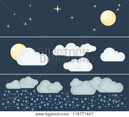 Different types of weather. Night and winter. Flat vector illustration. Symbols and icons of weather