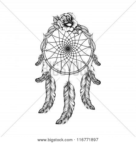 Dream catcher with feathers, leafs and rose  in line art style,