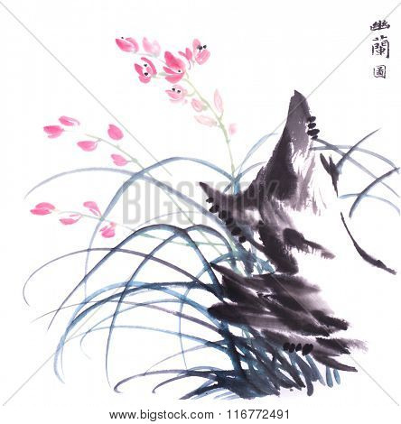 Chinese traditional ink painting of orchid,Chinese calligraphy translation: orchid