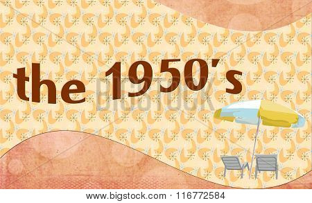 The 1950s -  banner style background with summer patio chairs and umbrella