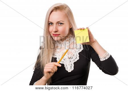 Beautiful Business Woman With Pencil And  Sticker
