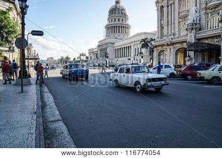 Old Cars And Capitol In Havana, Cuba