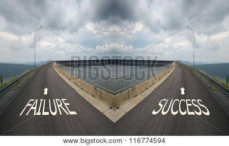 Concept Of Choice With Crossroads Spliting In Two Ways, Choose Failure Or Success Road