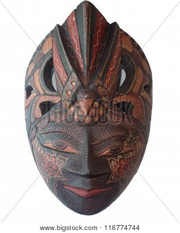 Batik Wooden Mask On White Backgroud