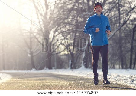 Man Out In Winter Weather For His Daily Run