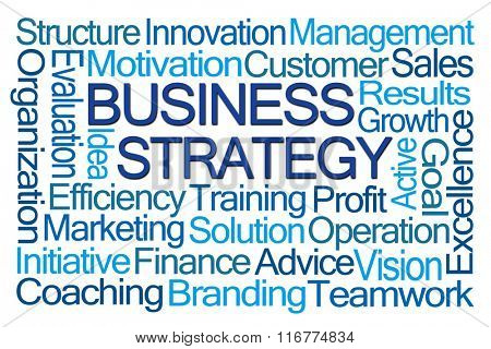 Business Strategy Word Cloud on White Background