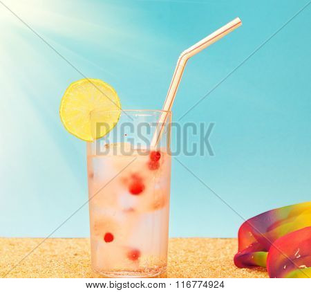 Fresh Tropical Cocktail On The Sand