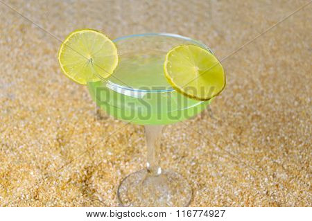 Cool Margarita On Tropical Beach