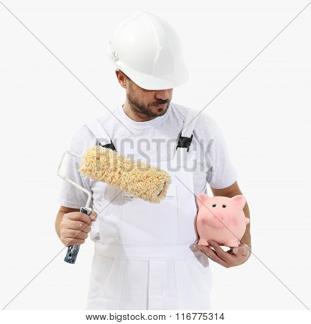 Painter Man With Roller Brush And Piggy Bank, Isolated On White, Saving Concept