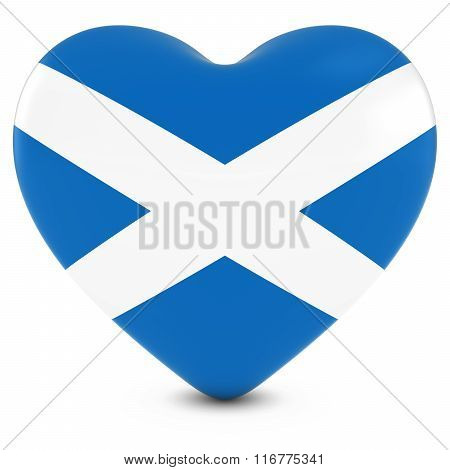 Love Scotland Concept Image - Heart Textured With Scottish Flag