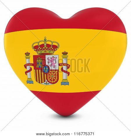 Love Spain Concept Image - Heart Textured With Spanish Flag