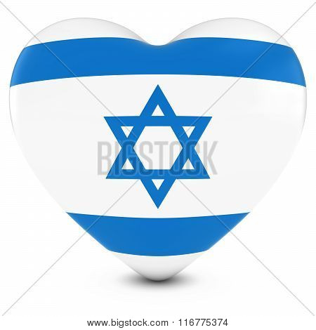 Love Israel Concept Image - Heart Textured With Israeli Flag