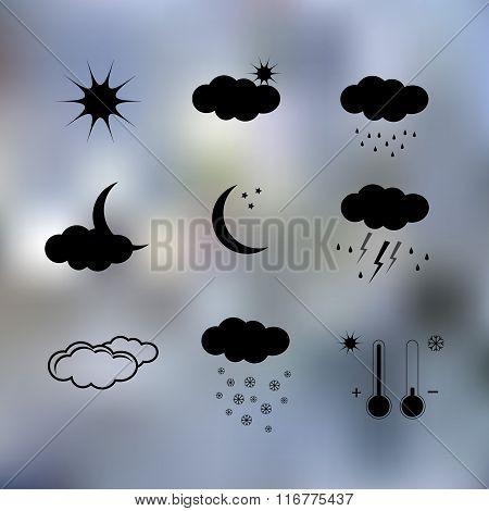 Black weather icons