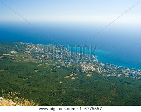 View on Crimean shore from a mountain