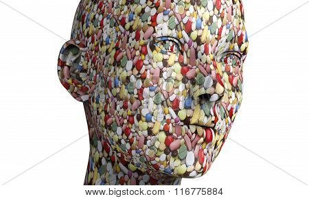 A Human Head Made Out Of Pills