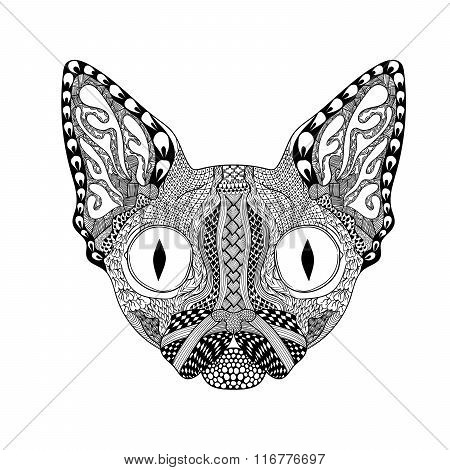 Zentangle stylized  Face of Black Cat. Hand Drawn Sphinx vector
