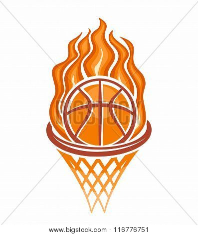 The image of a basketball ball in the basket