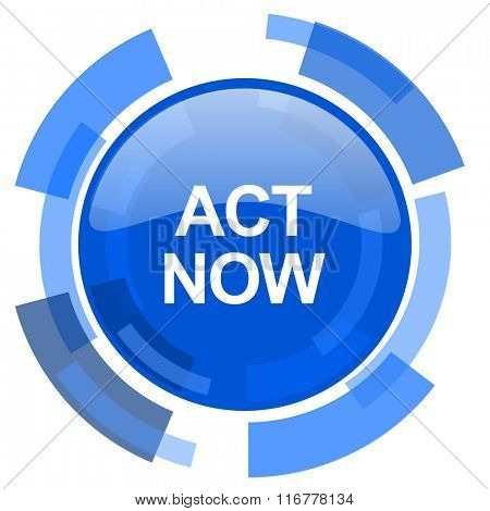 act now blue glossy circle modern web icon