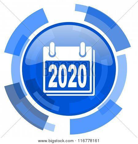 new year 2020 blue glossy circle modern web icon