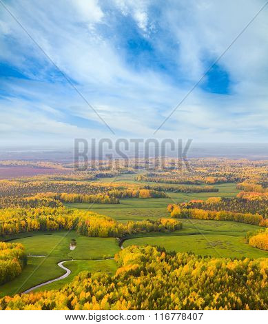 Forest River In Autumn, Top View