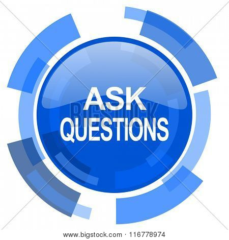 ask questions blue glossy circle modern web icon