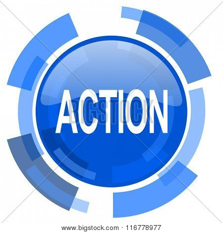 action blue glossy circle modern web icon