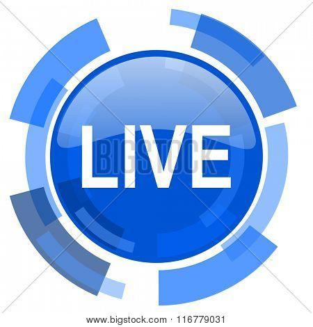 live blue glossy circle modern web icon