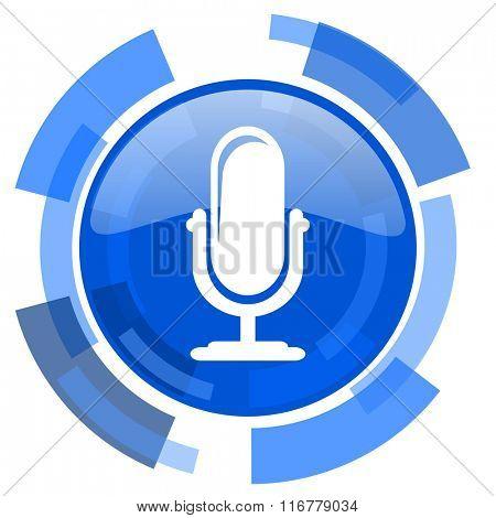 microphone blue glossy circle modern web icon