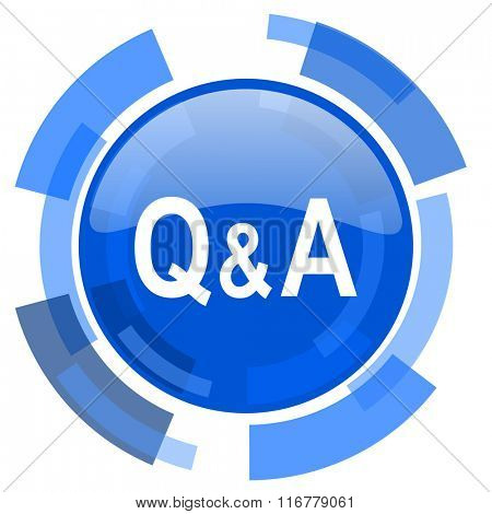 question answer blue glossy circle modern web icon