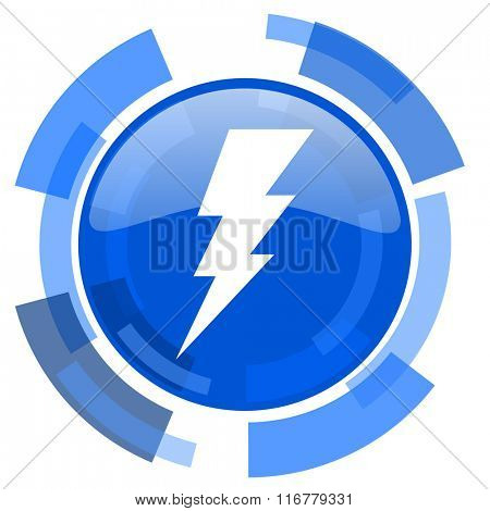 bolt blue glossy circle modern web icon