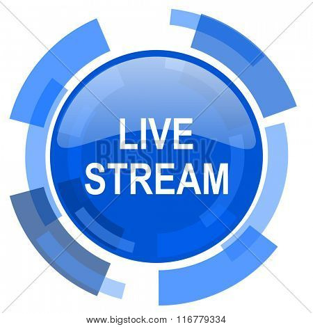 live stream blue glossy circle modern web icon