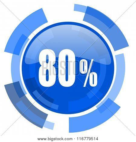 80 percent blue glossy circle modern web icon