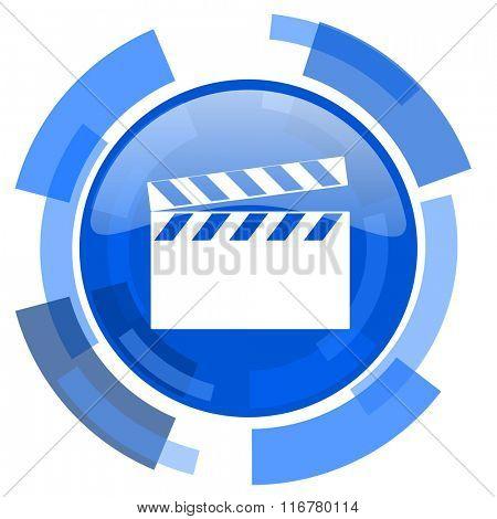 video blue glossy circle modern web icon
