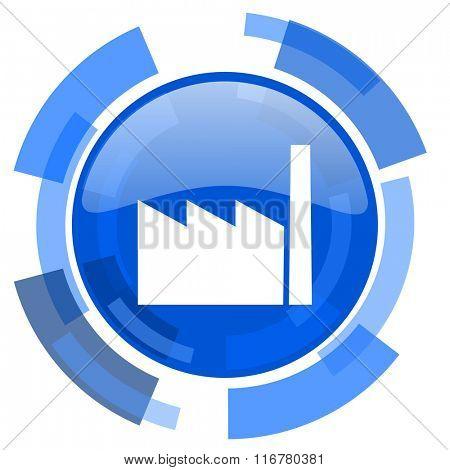 factory blue glossy circle modern web icon