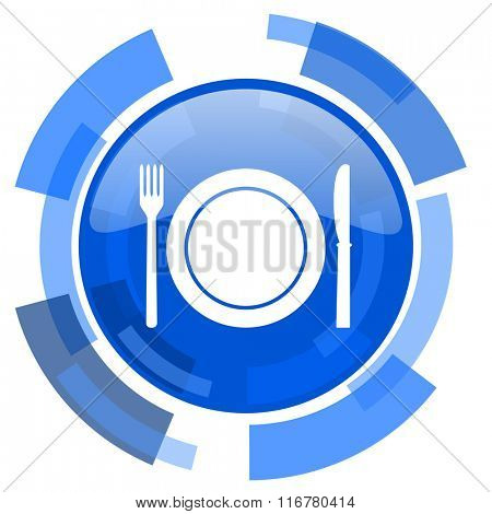 restaurant blue glossy circle modern web icon