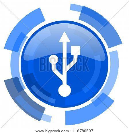 usb blue glossy circle modern web icon