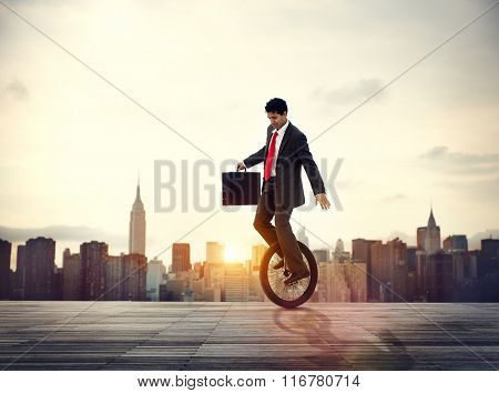 Businessman Commuting Ecology Saving Sunrise Concept