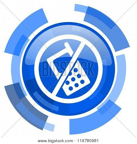 no phone blue glossy circle modern web icon